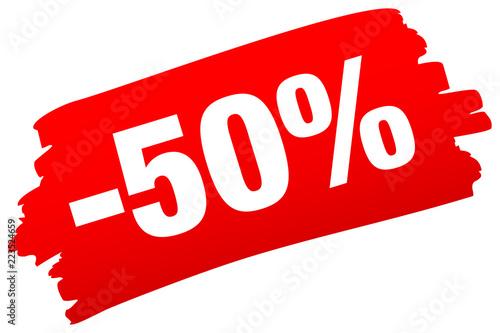 Brushstroke -50% Red Obraz na płótnie