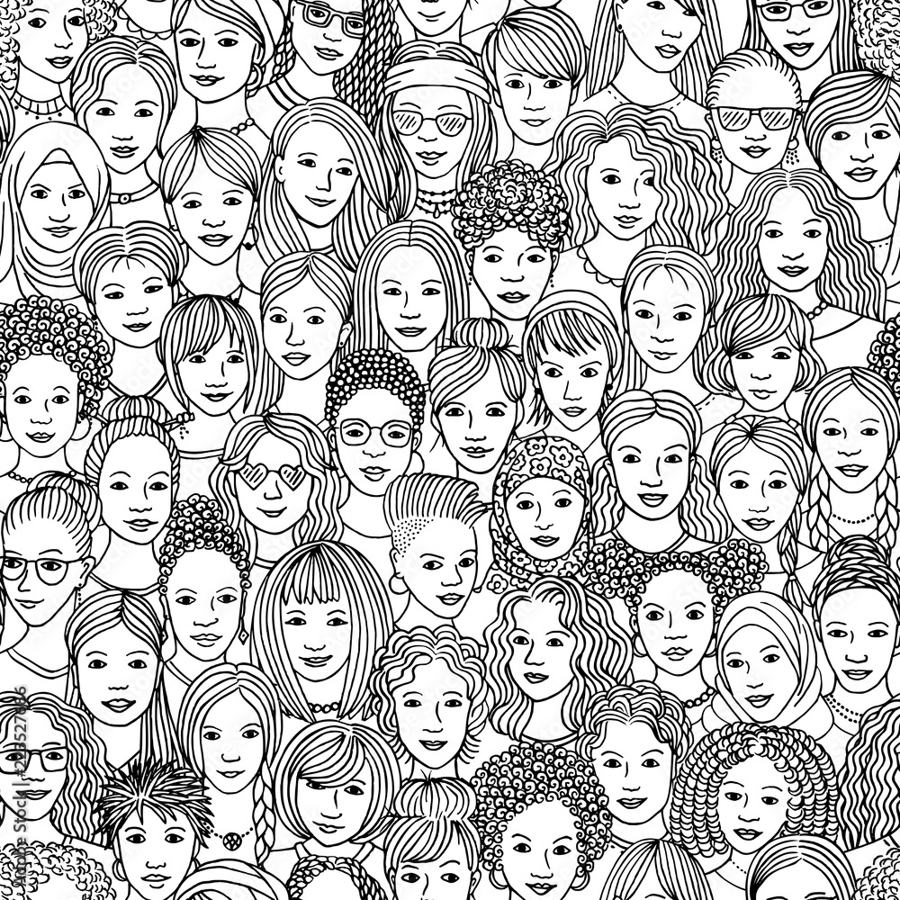 Fototapeta Women - hand drawn seamless pattern of a crowd of different women from diverse ethnic backgrounds in black and white