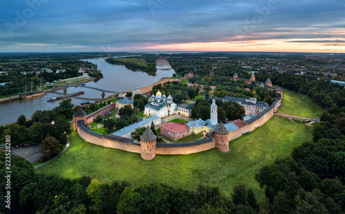 Aerial view of Veliky Novgorod kremlin at dusk, Russia