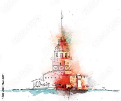 istanbul maiden tower illustration istanbul kız kulesi çizim