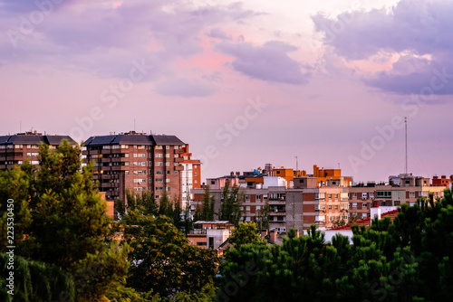 Cityscape of residential area of Madrid at sunset