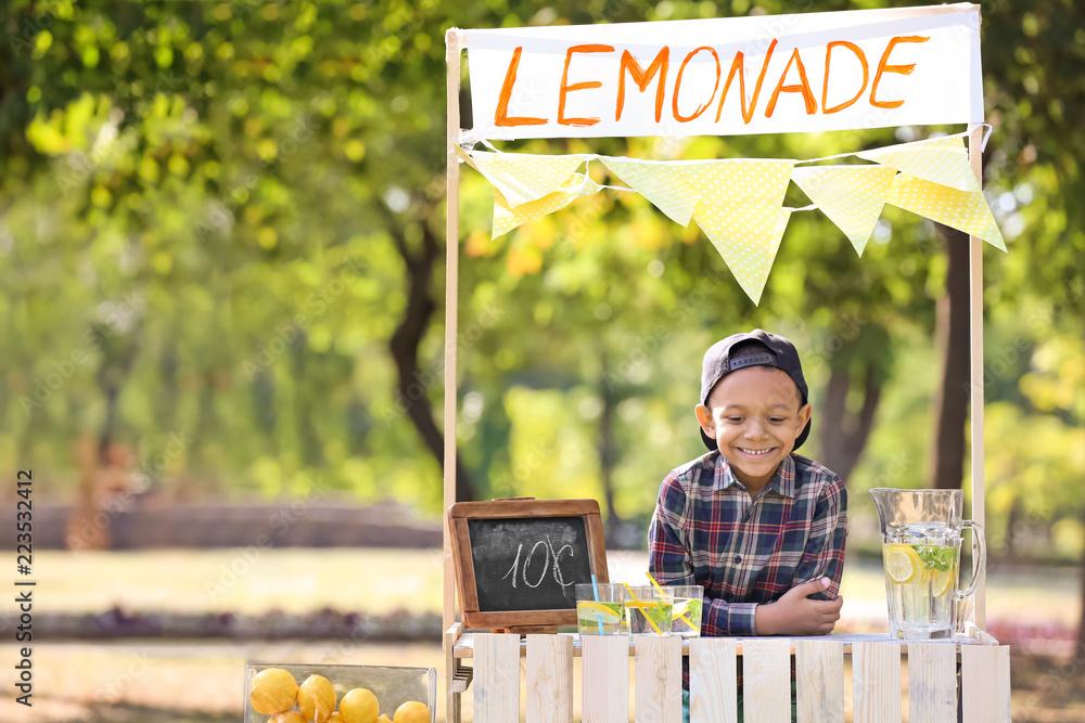 Fototapeta Little African-American boy at lemonade stand in park