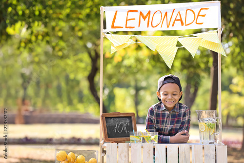Fotografie, Obraz Little African-American boy at lemonade stand in park