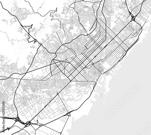 Wektorowa mapa miasta Barcelona w czerni i bieli
