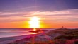 sunset timelapse of larino beach on the coast of galicia, spain