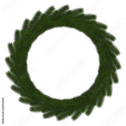 Reen Christmas Wreath Vector Isolated On White Background Xmas