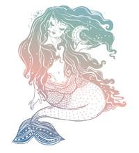 Feminine Mermaid Girl With Fai...