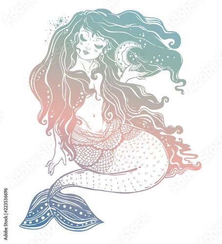 Fotografie, Obraz  Feminine mermaid girl with fairytale hair and moon