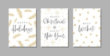 Set Of Christmas And Happy New Year Greeting Cards With Handwritten Calligraphy And Hand Drawn Decorative Elements.