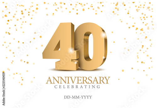Papel de parede Anniversary 40. gold 3d numbers.