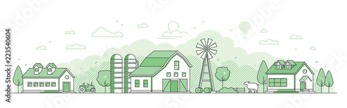 Country landscape - thin line design style vector illustration Canvas