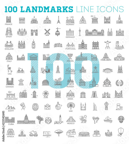 Simple linear Vector icon set representing global tourist landmarks and travel d Wallpaper Mural