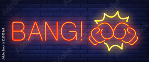 Photo  Bang neon text with boxing gloves