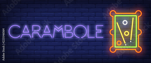 Fotomural Carambole neon text with billiard table