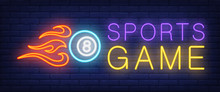 Sports Game Neon Text And Ball...