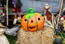 Pumpkin Decorations. A Rustic Autumn Still Life With Organic Pumpkins In The Hay. Autumn Decoration With Pumpkins And Flowers