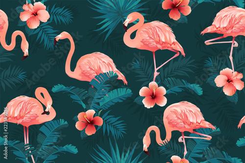 Fototapeta premium Piękny Flamingo Ptak Tropikalne Kwiaty Tło. Wektor wzór.