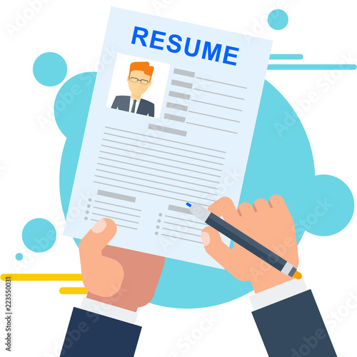 Resume Of Potential Employee Job Seekers And Vacancies Hiring And Recruiting Job Search In Company Sv Description Of Work Skills And Competences Flat Vector Cartoon Illustration Buy This Stock Vector And
