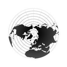 Arctic Pole Globe Hemisphere. World Map View From Space Isolated On White