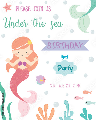 Fototapeta Cute Mermaid Theme Birthday Party Invitation Card Vector Illustration