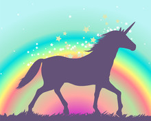 Silhouette Of A Unicorn On A R...