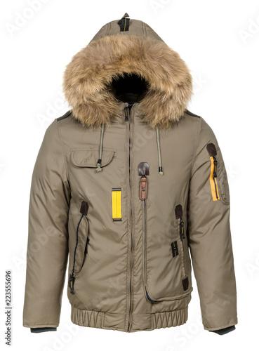 Obraz na plátne Winter jacket with fur hood on white background
