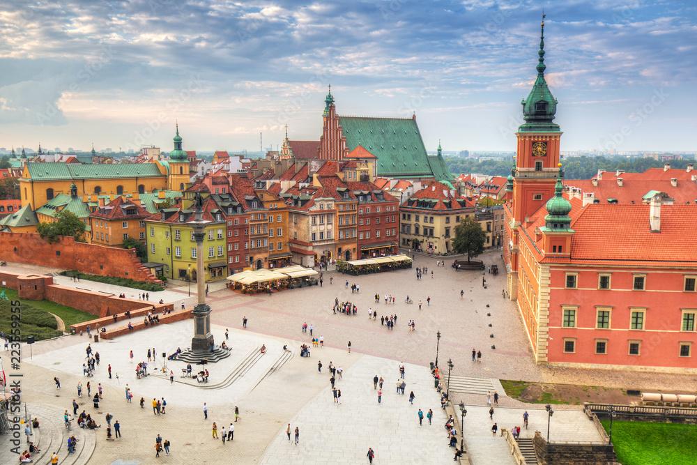Fototapety, obrazy: Plac Zamku Królewskiego w mieście Warszawa o zachodzie słońca, Polska