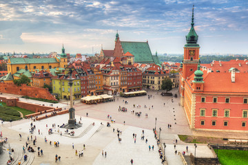 The Royal Castle square in Warsaw city at sunset, Poland.
