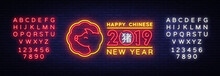 Happy Chinese New Year 2019 Design Template Vector. Chinese New Year Of Pig Greeting Card, Light Banner, Neon Style. Vector Illustration. Editing Text Neon Sign