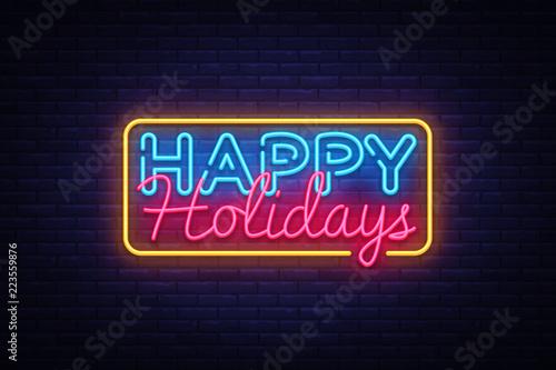 Fotografía  Happy Holidays Neon Text Vector
