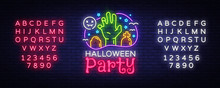 Halloween Party Design Template Vector. Halloween Greeting Card, Light Banner, Neon Style, Night Bright Advertising. Zombie Hand. Vector Illustration. Editing Text Neon Sign