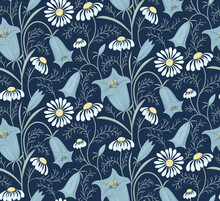 Floral Vector Pattern With Blu...
