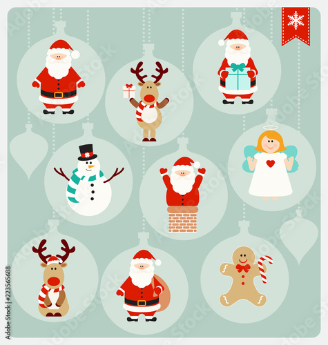 cute christmas cartoon characters santa claus angel reindeer snowman and christmas cookie in cute globe decorations buy this stock vector and explore similar vectors at adobe stock adobe stock cute christmas cartoon characters