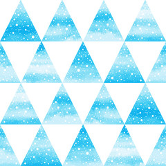 Geometrical winter seamless vector pattern. Watercolor hand drawn blue triangles with snow, round dot snowflakes texture. Watercolour stains Christmas, New Year background.