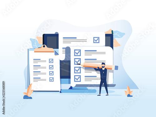 Fototapeta Isometric flat vector concept of online exam, questionnaire form, online education, survey, internet quiz. obraz