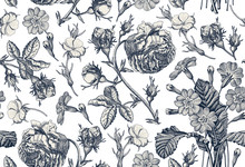Seamless Pattern. Beautiful Blue Blooming Realistic Isolated Flowers Vintage Background Rose Primrose Primula  Wildflowers. Wallpaper Baroque Bouquet Drawing Engraving Vector Victorian Illustration