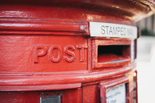 Close Up Of A Red Post Box In London, UK, Shallow Focus.