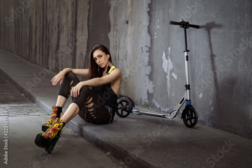 young girl on a bike Canvas Print
