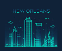 New Orleans USA Skyline Vector...