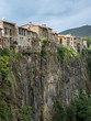 Row of houses on basalt cliff in the Castellfolit de la Roca Village