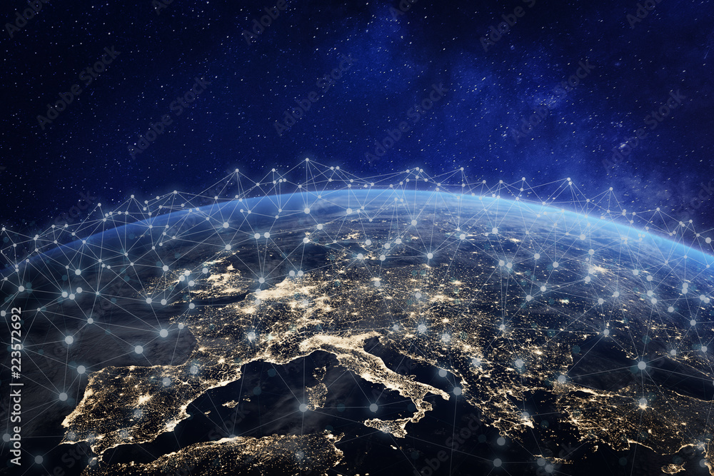 Fototapety, obrazy: European telecommunication network connected over Europe, France, Germany, UK, Italy, concept about internet and global communication technology for finance, blockchain or IoT, elements from NASA