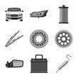 Vector design of auto and part logo. Set of auto and car stock symbol for web.