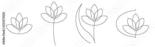 Photographie Flower lotus continuous line vector illustration set with editable stroke for floral design or logo
