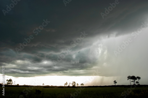 A dramatic storm sweeps over Turner River Road in Big Cypress, The