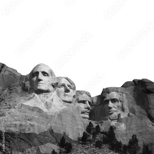 Fotografia  Mount Rushmore Nation Memorial South Dakota Vector Presidents Landmark Lincoln W