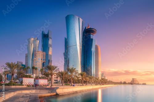 Fényképezés  Skyline of West Bay and Doha City Center, Qatar
