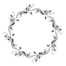 Decorative Vintage Round Frame With Floral Ornament In Retro Style