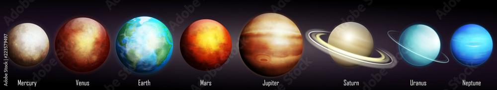 Fototapety, obrazy: Planets of the Solar System vector illustration