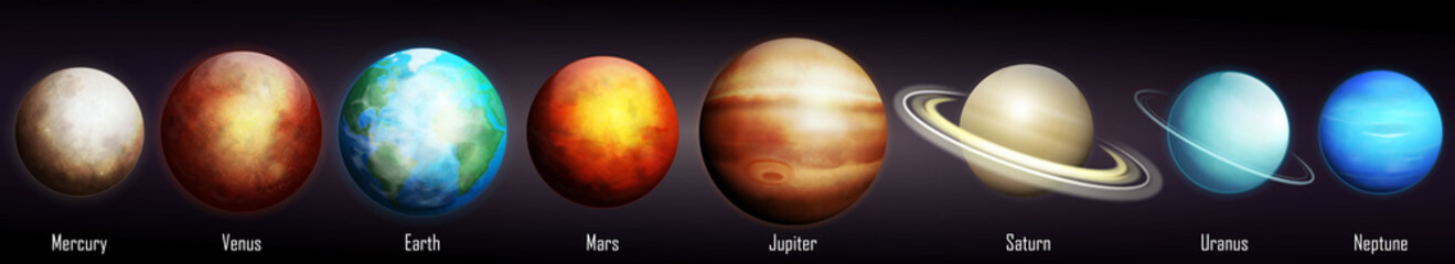 Fototapeta Planets of the Solar System vector illustration