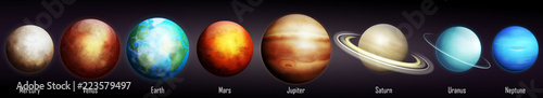 Fotografie, Obraz Planets of the Solar System vector illustration